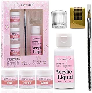 Latorice Nail Acrylic Powder and liquid Set - 3 Colors Clear Pink White and one Liquid Monomer, Nail Art Powder for Doing Acrylic Nails. MMA free.