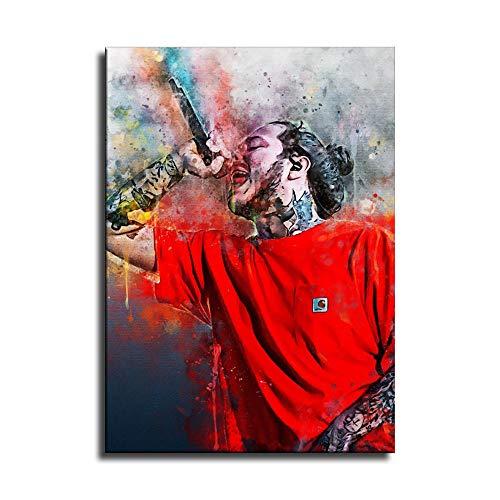 Post-Malone Rap-Poster, Leinwandkunst, Poster, Wandkunst, Kunstdruck, modernes Familienschlafzimmer, Dekoration, Poster, Geschenk, Kein Rahmen, 24x36inch