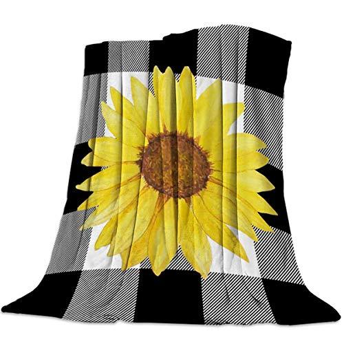 Mantas Para Manta Blanket Fondo de cuadros blancos y negros de girasol amarillo Mantas 125X100CM