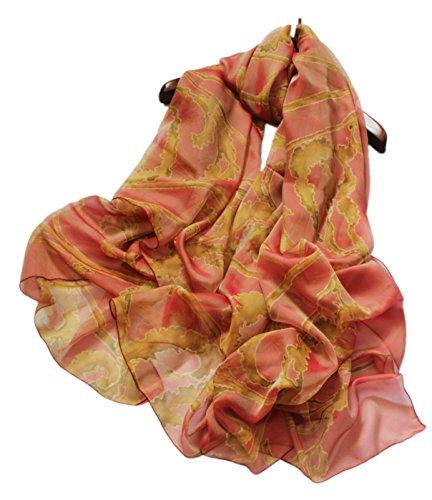 Prettystern prettystern 200cm 2-farbige Changierend Seidentaft Langer Seiden-Schal Stola - 10. Orange Muster