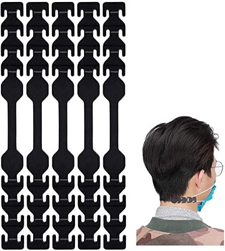 seOSTO Maskenverlängerungsgurt, Maskenhalter, Maskenverlängerungshaken zum Verlängern von Masken, Schnallenband für Erwachsene und Kinder (schwarz-5)
