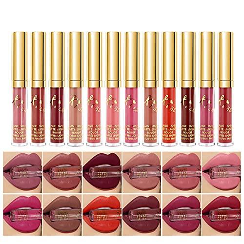 Matte Liquid Lipstick set Waterproof Long Lasting Non-Stick Cup Liquid Lipgloss Velvety Liquid Lipstick Kiss-proof Durable Nude Lip Gloss (12pcs Lipstick)