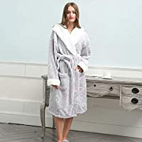 BZM-ZM ドレススーパーソフトホームウエア、S着替え冬のフランネルの女性のバスローブの暖かいローブ女性ストライプホームバスローブ着物 (Size : Click to select X-Large)