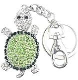 Quadiva ciondolo da borsa tartaruga, da donna - Bag Charm Turtle model M - (colore: Argento/Verde), decorato con cristalli