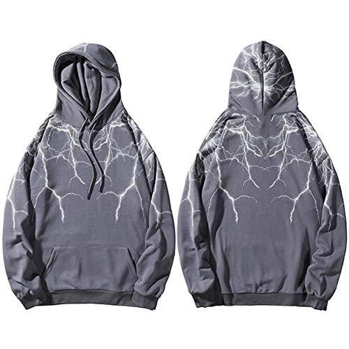 LMSHD Hoodies Hip Hop Lightning Hoodie Sweatshirt Herren Harajuku Streetwear Kapuzenpullover Baumwolle Lose Hoodie Hiphop Schwarz