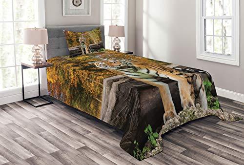 ABAKUHAUS Safari Tagesdecke Set, Asian Tiger in Wald, Set mit Kissenbezug Waschbar, für Einselbetten 170 x 220 cm, Mehrfarbig