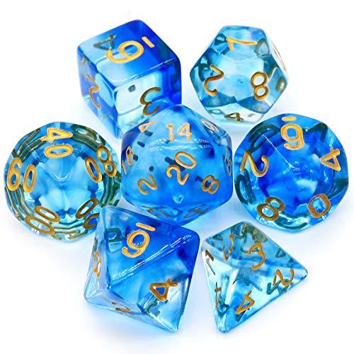 Haxtec 7PCS DND Dice Set Polyhedral D&D Dice of D20 D12 D10 D8 D6 D4 for Dungeons and Dragons TTRPG Games (Dragon Glass-Eternal Sea)
