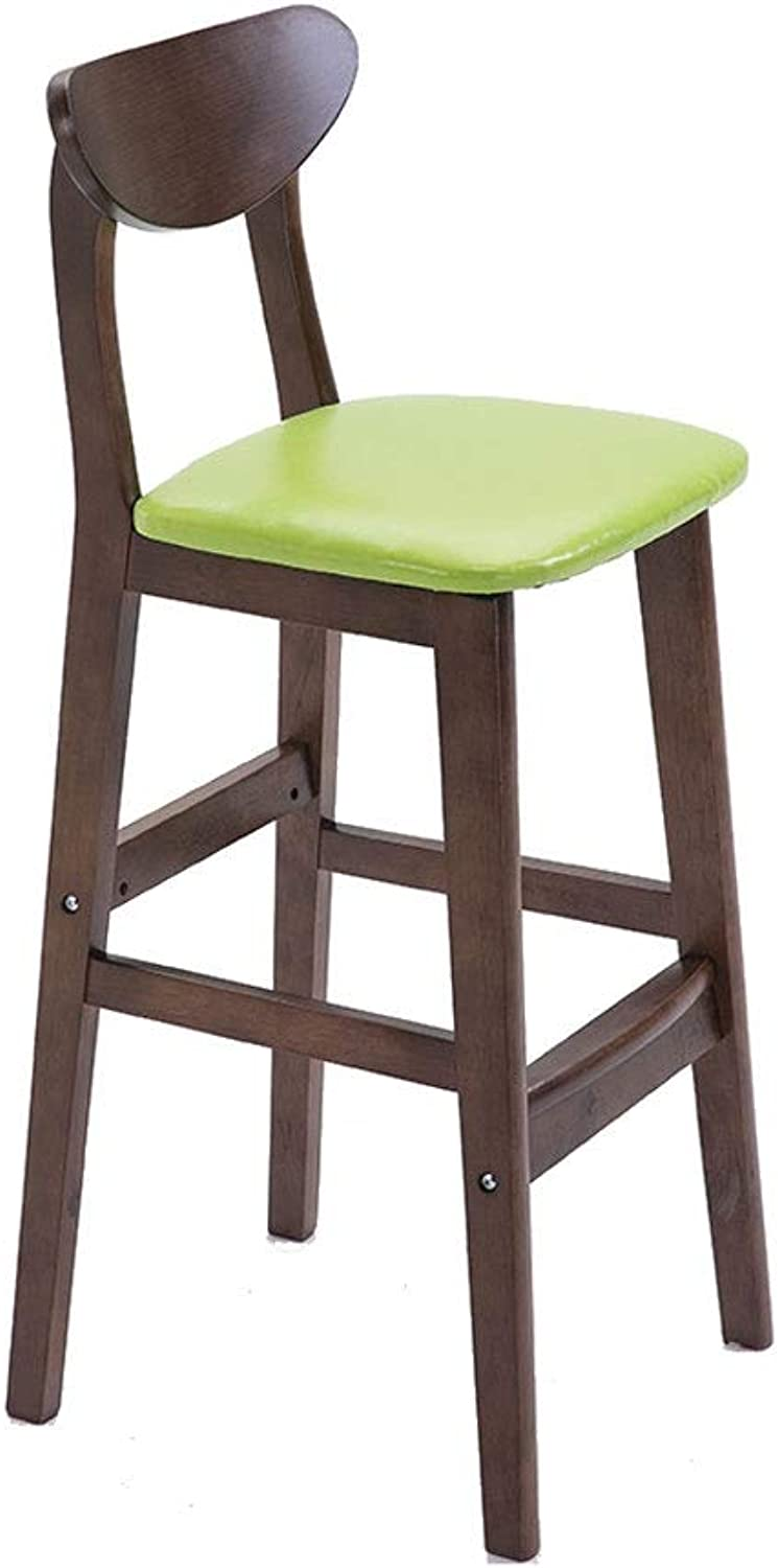 Solid Wood High-Elastic Sponge Dining Chair, Backrest High Stool, Solid Wood - Leather - Bar Chair - Seat Surface, 6 colors (color   Green)