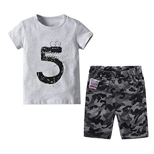 Ropa Nio Disfraz Verano Traje Primavera Conjunto Deportiva Gris Camiseta Digital y Pantalones Cortos Camuflaje 4-5 Aos