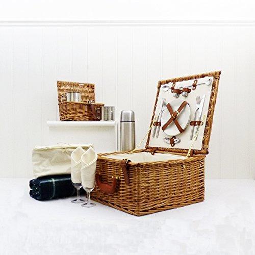Luxe wilgen-picknickmand 'Cheltenham' voor 2 personen met bijpassende accessoires - een ideaal cadeau voor verjaardag