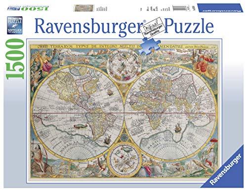 Ravensburger Puzzle Mappa, Mappamondo storico, Puzzle 1500 pezzi, Relax, Puzzles da Adulti, Dimensione: 80x60 cm, Stampa di alta qualità, Cartina