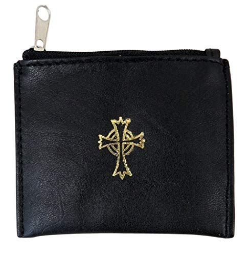 Genuine Leather Lined Rosary Case with Celtic Cross Crucifix, Black, 3 3/4 Inch