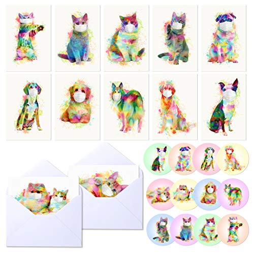 Ayamuba 24 Pack Watercolor Cute Animal Greeting Cards with Envelopes, Animal Thank You Notecards for All Occasions