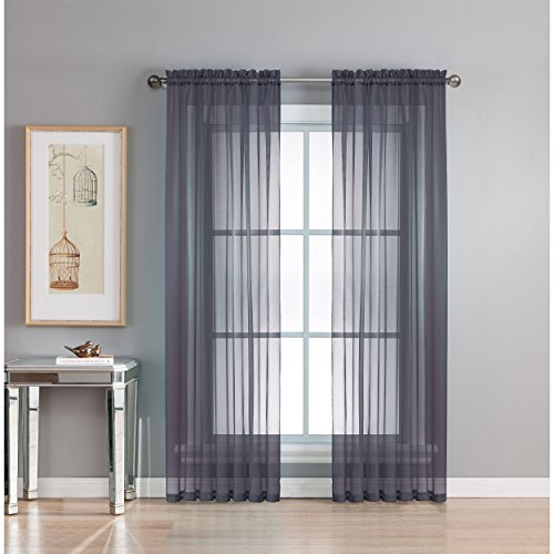 Window Elements Diamond Sheer Voile-Vorhang, extra breit, Gardinenstange 56x90 Indigo