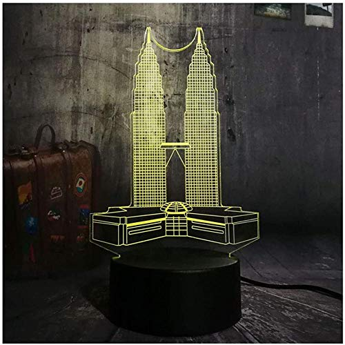 Night Lights 3D New 3D LED Night Light Petronas Twin Towers Desk Lamp Mood 7 Color Change Living Room Home Decor