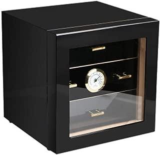 LIFANGAU Cigar Box, Cedar Wood Cigar Humidor, Cigar Box, Cigar Humidifying Box,Black, Red (Color : Black)
