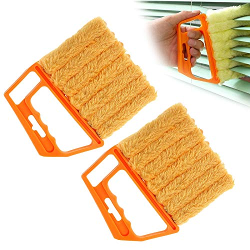 7 Finger Dusting Cleaner Tool, Microfibre Shutter Clean Brush, Mini Hand-held Blind Duster Brush, for Window Blinds Air Conditioner Fan Dirt Duster 2pcs (Yellow)