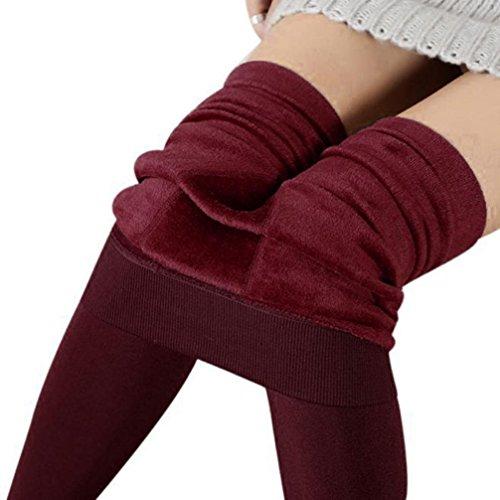 Venta caliente. Grueso Térmico HIGHWAIST Leggings, Feixiang ♈ Mujer Cálido Grueso Algodón Medias Medias Paque Footed calcetines Medias Pantalones, Red 2