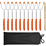 """MASSUGAR Marshmallow Roasting Sticks 10 Pack Extra Long 45"""" Stainless Telescoping Hot Dog Smores Skewers Kids Safe Barbecue Forks for Camping, Campfire, Bonfire Kids, with 10 Bamboo Skewers (10 Pack)"""