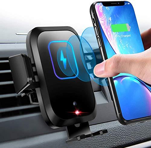 Cargador Inalámbrico Coche, 15W Qi Rápida Wireless Cargador de Coche con Sujeción Automática, Compatible con para Samsung S20 S9/8/7/6, Note9/8/7/6, iPhone XR/XS MAX/X/8/8 Plus, Huawei P30