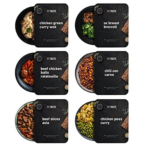FITTASTE Low Carb Box 6er I hochwertiges Fertiggericht für Fitness- und Figurbewusste I ideal als schnell zubereitete Mahlzeit / Fertig-Essen / Gericht im Home-Office