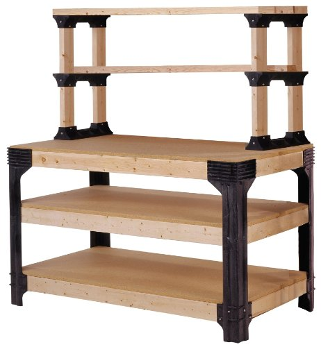 2x4basics 90164 Custom Work Bench and Shelving Storage System, Black Hawaii