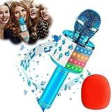 Qoosea Microfono Karaoke Bluetooth Wireless, Portatile KTV Karaoke Player per Cantare, Karaoke per Bambini con Luci LED Multicolore Altoparlante, Compatibile con Android/IOS/PC/Smartphone (Blu)