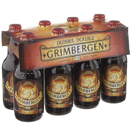 Original belgisches Bier - GRIMBERGEN Double 6,5% vol. 8 x 33 cl, Abteibier, hohe Gärung, dunkelbraun inc. 0.64€ MEHRWEG Pfand