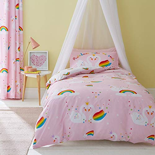 Catherine Lansfield Rainbow Swan Easy Care Single Duvet Set Pink