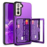 WeLoveCase for Samsung Galaxy S21 Wallet Case with Credit Card Holder & Hidden Mirror, Defender Protective Shockproof Heavy Duty Protection Phone Cover for Samsung Galaxy S21 5G, 6.2 inch Purple