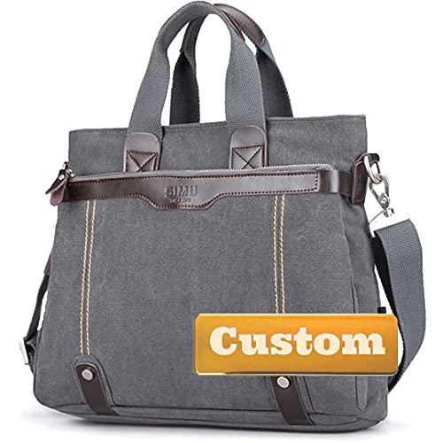 Personalizado Nombre Personalizado Metset Maletín de la Correa de Cuero de Cuero para la Bolsa de la computadora portátil (Color : Grey, Size : One Size)