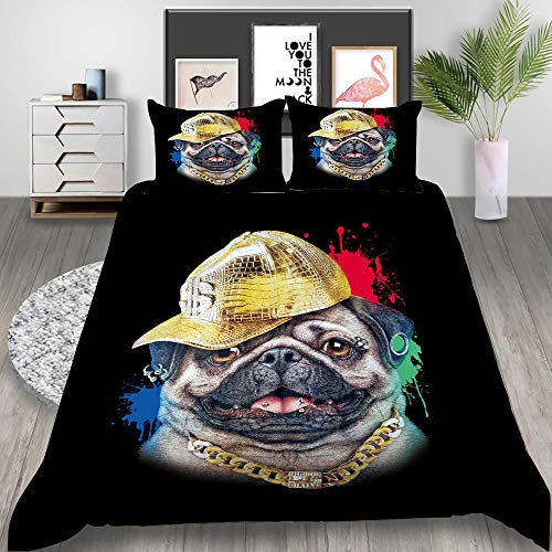 MOUPSDT 3D Printed Duvet Cover Animal dog with yellow hat Double size Bedding Set Super Soft Microfiber 3 pcs 1 Duvet Cover 78.7 inch x 78.7 inch with 2 Pillow covers 50x75cm