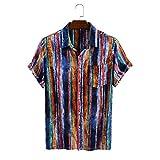 Camisa de Manga Corta de Verano para Hombres Americana Impresión de Rayas Multicolor Bolsillos Laterales Decoración Camisa de Botones de Ajuste Regular XXL
