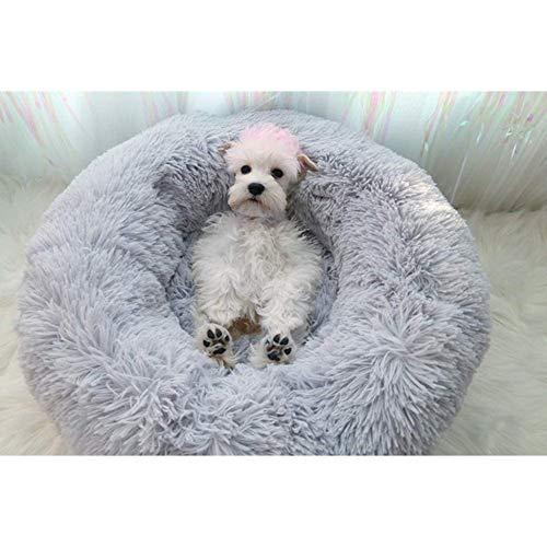 SANJIANG Donut Deep Sleep Haustier Hunde Katzen Bett Sofa Zwingernest - Selbstwärmende Kuschel Plüsch Indoor Cuddler,Grey-50cminDiameter