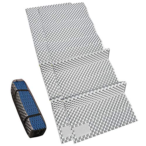 """REDCAMP Closed Cell Foam Sleeping Pad for Camping, 22"""" Wide Lightweight Folding Camping Pad for Hiking Backpacking, 72""""x22""""x0.75"""", Royal Blue 2 Packs"""