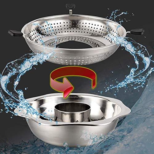 Edelstahl-Kasserolle, rotierender Topf mit Hebeablaufkorb, Hot Pot für Restaurants, Hotels, Familien, Restaurants