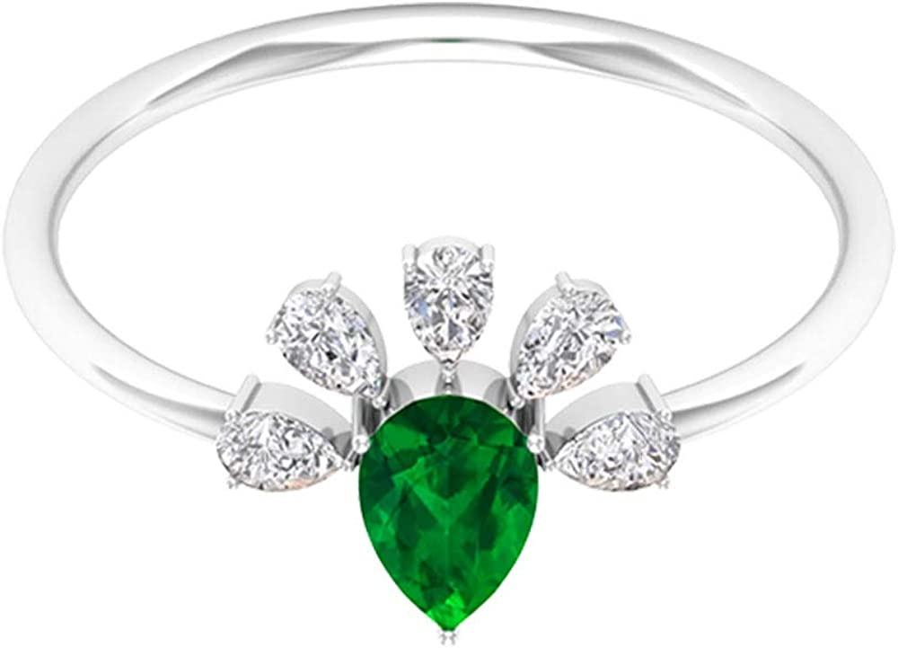 Pear Limited time for free shipping Shaped 3 4 CT Emerald Vintage Diamond Rin Certified Cluster Seattle Mall