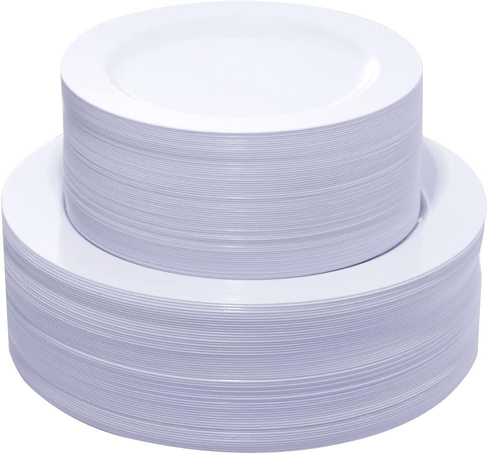 KIRE 120PCS White Plastic Plates - Heavy Duty Disposable