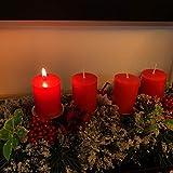 Unifree Adventskranz - Bereift Tanne Weihnachten Kerzenhalter Kerzenringe Kerzenständer Dekorativ Tannenzapfen Rote Beeren Bogen, Christmas Kerzenlicht Stehen für Advent Tischdeko Deko - 3