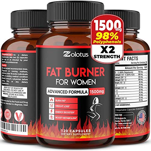 Fat Burner for Women, The Best Natural Weight Loss Pills for Women and Men, Metabolism Booster, Energy Pills, Highest Potency with Green Tea Extract 98%, 2 Months Supply