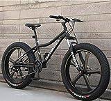 Bicicleta de montaña Hardtail de 26 pulgadas para adultos, cuadro de acero al carbono, horquilla con suspensión completa, freno de doble disco de LJLYL, color negro, tamaño 24 speed