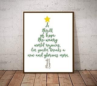 Minitowz A Thrill of Hope - The Weary World Rejoices - Christmas Hymn Lyric Art - Christmas Holiday Decorations - Christmas Printables - O Holy Night