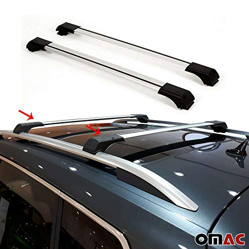 OMAC USA Roof Racks Cross Bars Carrier Cargo Racks Rail Aluminium Silver Set 2 Pcs. for Audi A4 Allroad Quattro 2008-2016
