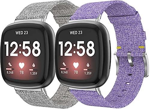 Nylon Trenzado Correa de Reloj Compatible con Fitbit Versa 3 / Fitbit Sense, Clásicos exquisitos Pulseras de la Correa de los Hombres (Pattern 3+Pattern 5)