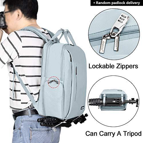 CADeN Kamerarucksack Wasserabweisend Diebstahlsicher 15.6 '' Laptopfach Fotorucksack & Reise Kameratasche mit USB für DSLR Canon Nikon Sony Spiegelreflex (Hellgrau)