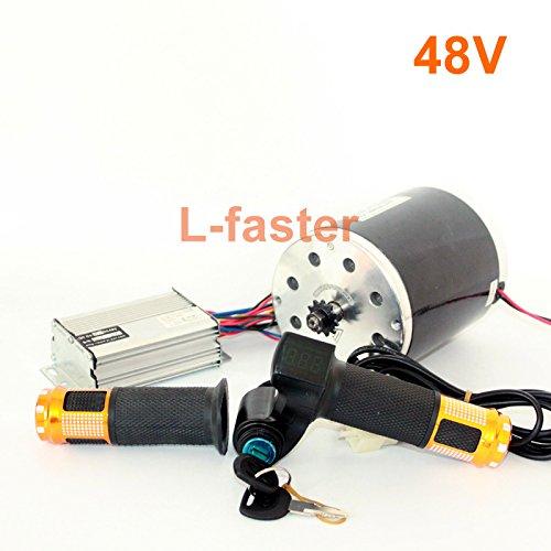 L-faster Motor de 36V48V 1000W Unitemotor MY1020 con el Acelerador y el regulador Motor eléctrico de la impulsión de la Cadena de la Vespa del Poder más Elevado DIY Gocart Kit (48V Upgraded Kit)