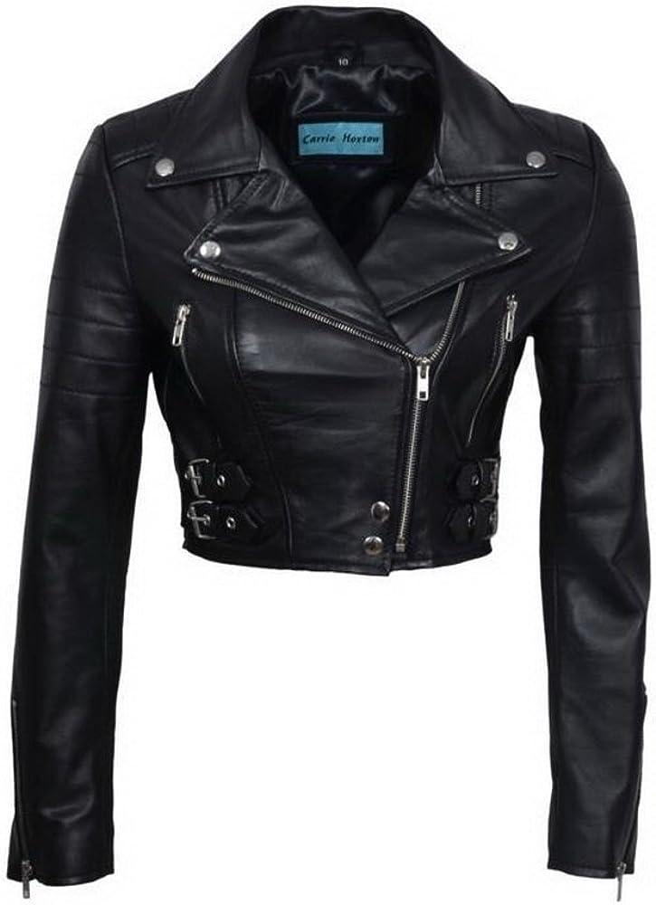 Women's Chic Black Cropped Leather Biker Jacket