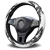 Cloud Dream Home Universal Steering Wheel Cover for Women/Men Black White Dragon 15 Inch Anti-Slip Washable Breathable Car Wheel Protector for SUV/Trucks,Car Interior Decorations Abstract Art
