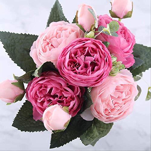 MYKK Kunstblumen 30cm Rose Rosa Seide Pfingstrose Künstliche Blumen Bouquet 5 Großen Kopf Und 4 Knos Billig Gefälschte Blumen Für Haus Hochzeit Dekoration Indoor 30 * 6cm Pink Red