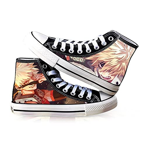 ZYAAO Sneakers Zapatillas Hombre Hombre Zapatillas Mujer Mujer Unisex Zapatillas Lona Casuales Zapatos Zapatos Botas DIY 3D Anime Shoes Zapatos Skate My Hero Academia Deku/bakugou Katsuki, 38